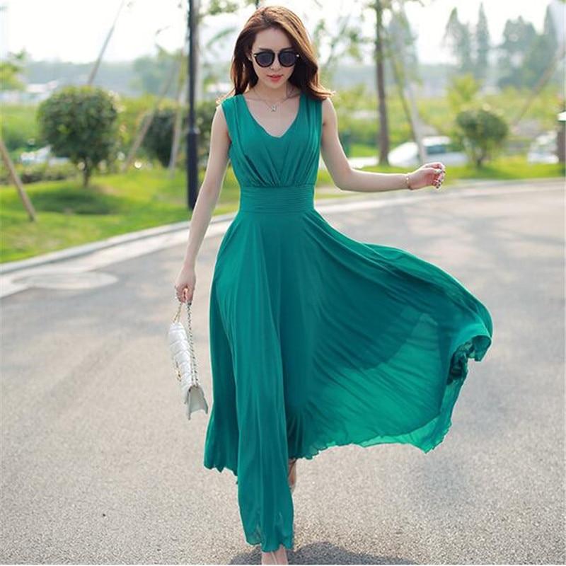 Été Maxi robes mode sans manches blanc vert jaune Boho bohème plage en mousseline de soie longue robe grande taille 5XL Vestidos