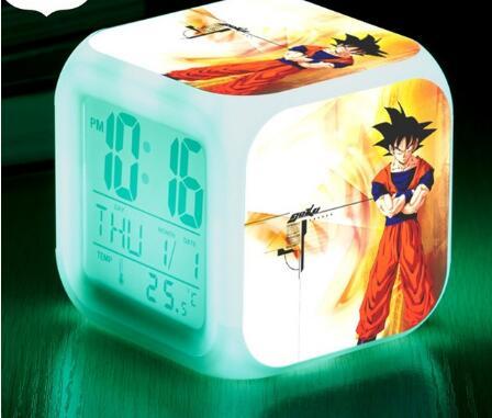 Reloj despertador Snooze wekker, reloj despertador LED de Dragon Ball, reloj despertador Chico, relojes digitales, regalos de lámpara multifunción + caja
