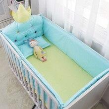 Ensemble de literie de bébé en coton 5 pièces   Linge de lit de bébé de marque de qualité avec grand dossier à couronne, drap de lit autour des pare-chocs
