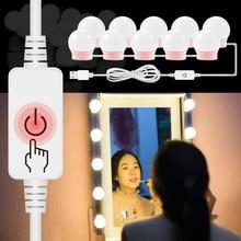 Vanité maquillage lumière Led miroir ampoule USB Port Kit 2 6 10 14 pièces coiffeuse lumières DC 12V luminosité réglable lampe cosmétique