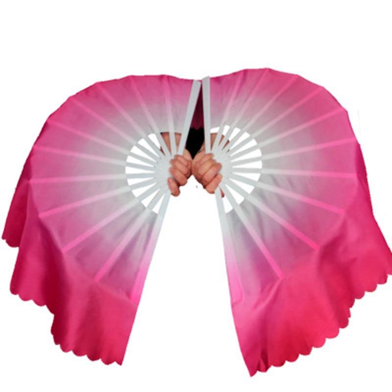 Ventilateur en plastique couleur dégradé dos magnolia bambou double ventilateur Kungfu mulan performance tai chi une paire