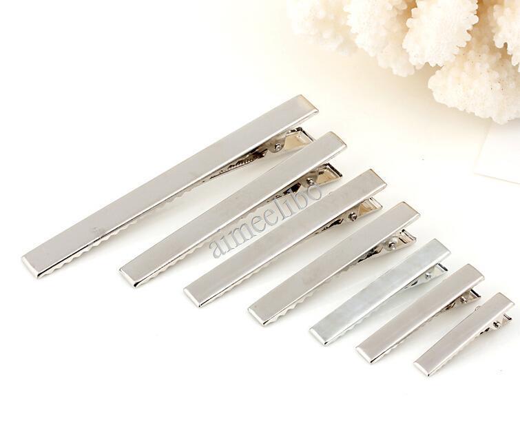 100 unids/lote Metal plano de plata solo pinzas de pelo de cocodrilo horquillas Barrettes para lazos DIY banda de pelo