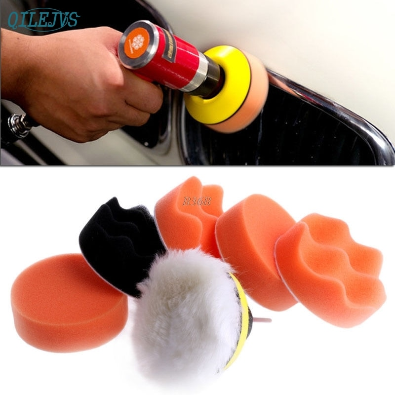 3-дюймовый полировальный коврик, автомобильный комплект для полировки колес автомобиля, буфер + M14 адаптер для дрели, 7 шт., MAY13