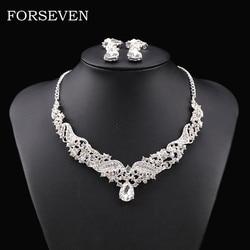 Colar de cristal com brincos acessórios de noiva conjunto de jóias para casamento conjunto de jóias de prata cor feminina acessórios colares