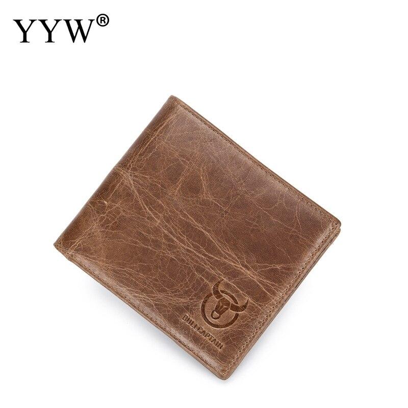 BULLCAPTAIN Men Wallet Genuine Cow Leather Card Holder Short Wallet Luxury Man Purse Fashion Standard Multi Card Wallets