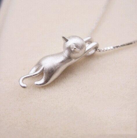 Collares de gargantilla de gato de cadena larga de Color plata Real a la moda para mujeres joyería de declaración regalo de Navidad para chicas