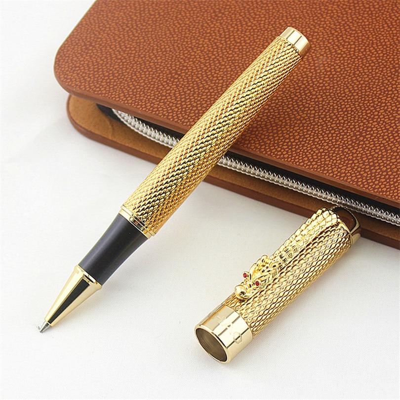 JINHAO 1200 роликовая шариковая ручка Canetas, ручки с золотым зажимом в деловом стиле, роскошная металлическая шариковая ручка