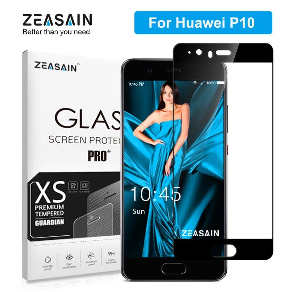 Funda completa templada de cristal ZEASAIN para Huawei P10 P 10, Protector de pantalla de 5,1 pulgadas, dureza 2.5D 9 H, película de seguridad de vidrio Premium