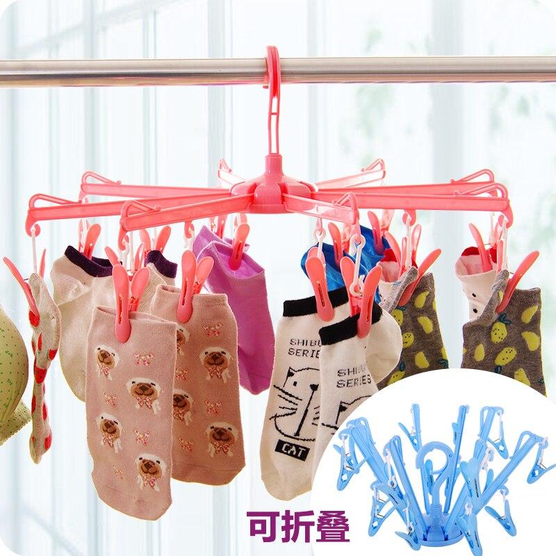 Colgadores plegables para arriba ropa clavija ropa interior calcetines clip de secado a prueba de viento clip de plástico