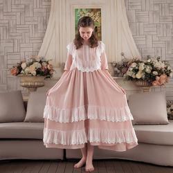 2019 novo patchwork de renda Das Mulheres Sleepwear Vestido de Renda de Algodão Camisola Camisola homeclothes