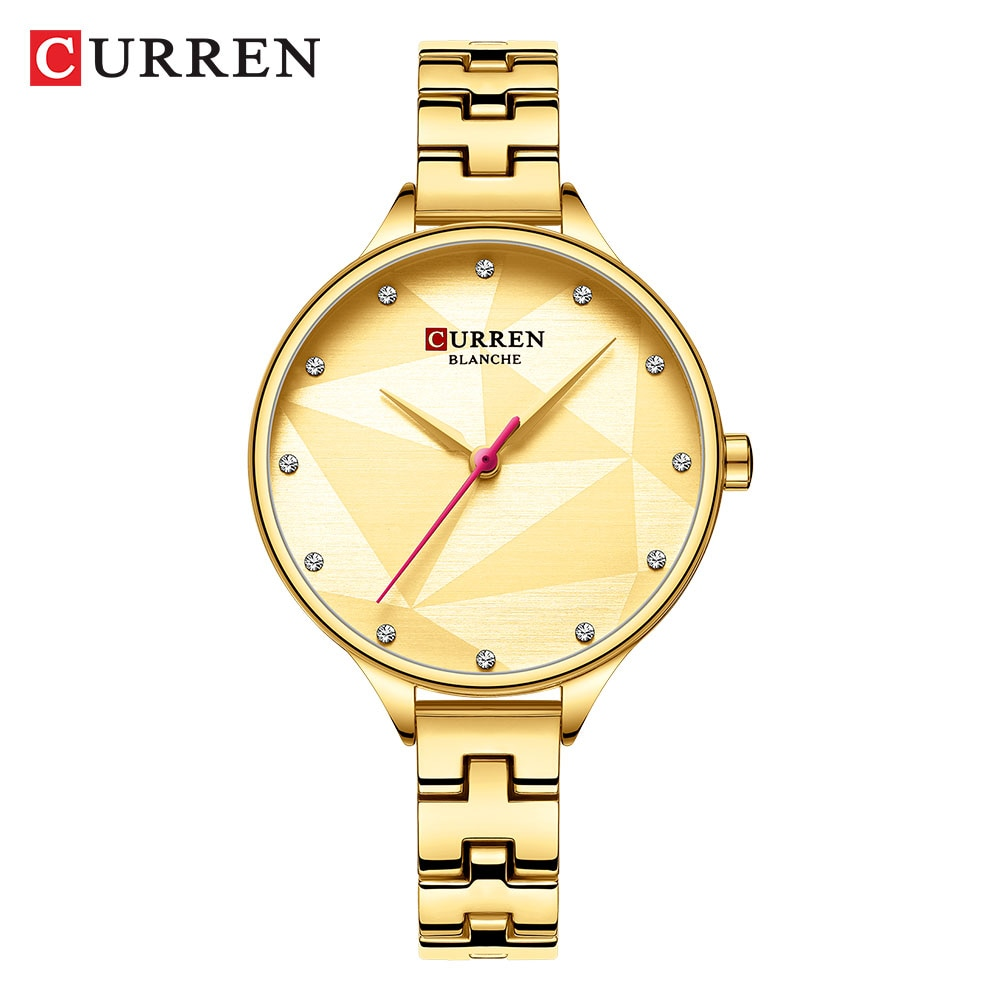 CURREN Golden Color Women Watch Stainless Steel Rhinestone Ultra-thin Analog Ladies Quartz Dress Wristwatch Reloj Mujer Dropship enlarge