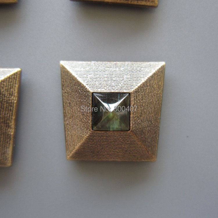 Retail Original Antique Gold Plated Nature Labradorite Stone Window of Pyramid Bolo Tie BOLOTIE-017 In Stock Free Shipping