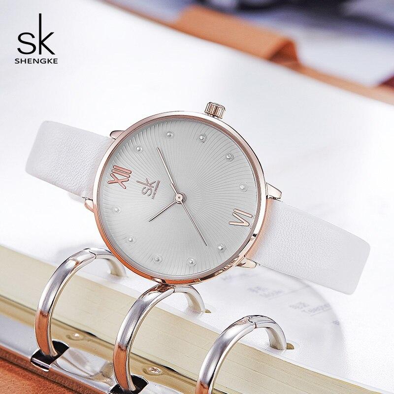 Reloj Shengke de cuarzo con esfera de perla creativa para Mujer, Reloj de pulsera de cuero blanco para Mujer, Reloj de Mujer para regalo del Día de la Mujer 2020 # K8034