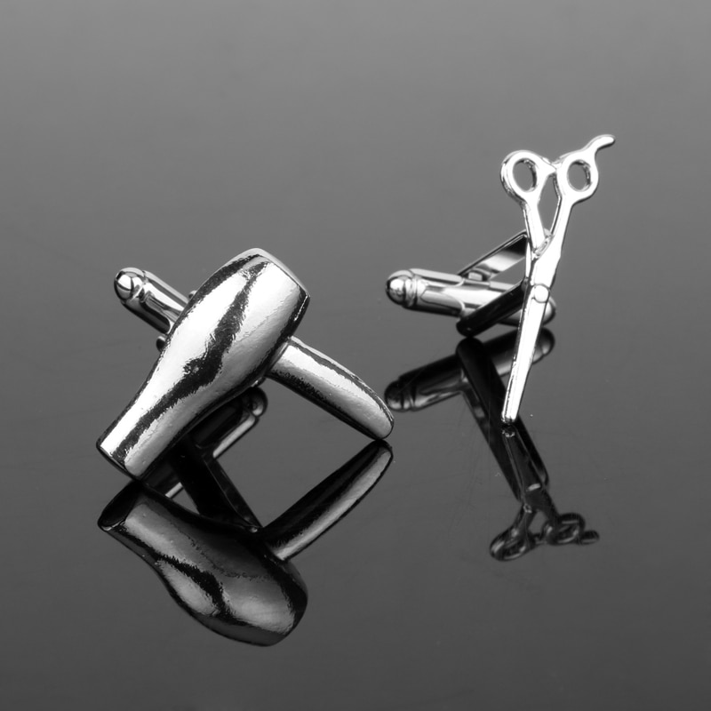 Mochun atacado secador de cabelo/tesoura abotoaduras filme série abotoaduras jóias simle shpirt moda acessórios Cufflinks-20