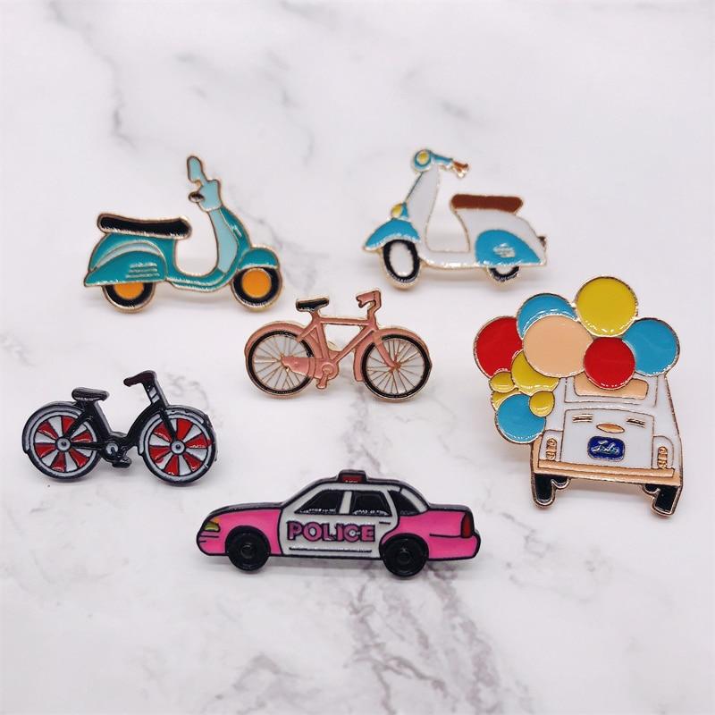 Эмалированные брошки с героями мультфильмов, модные брошки для велосипеда, мотоцикла, машины, кнопки из сплава, бейджи, заколки, рубашка, сумка, шляпа, украшения, безделушка для детей