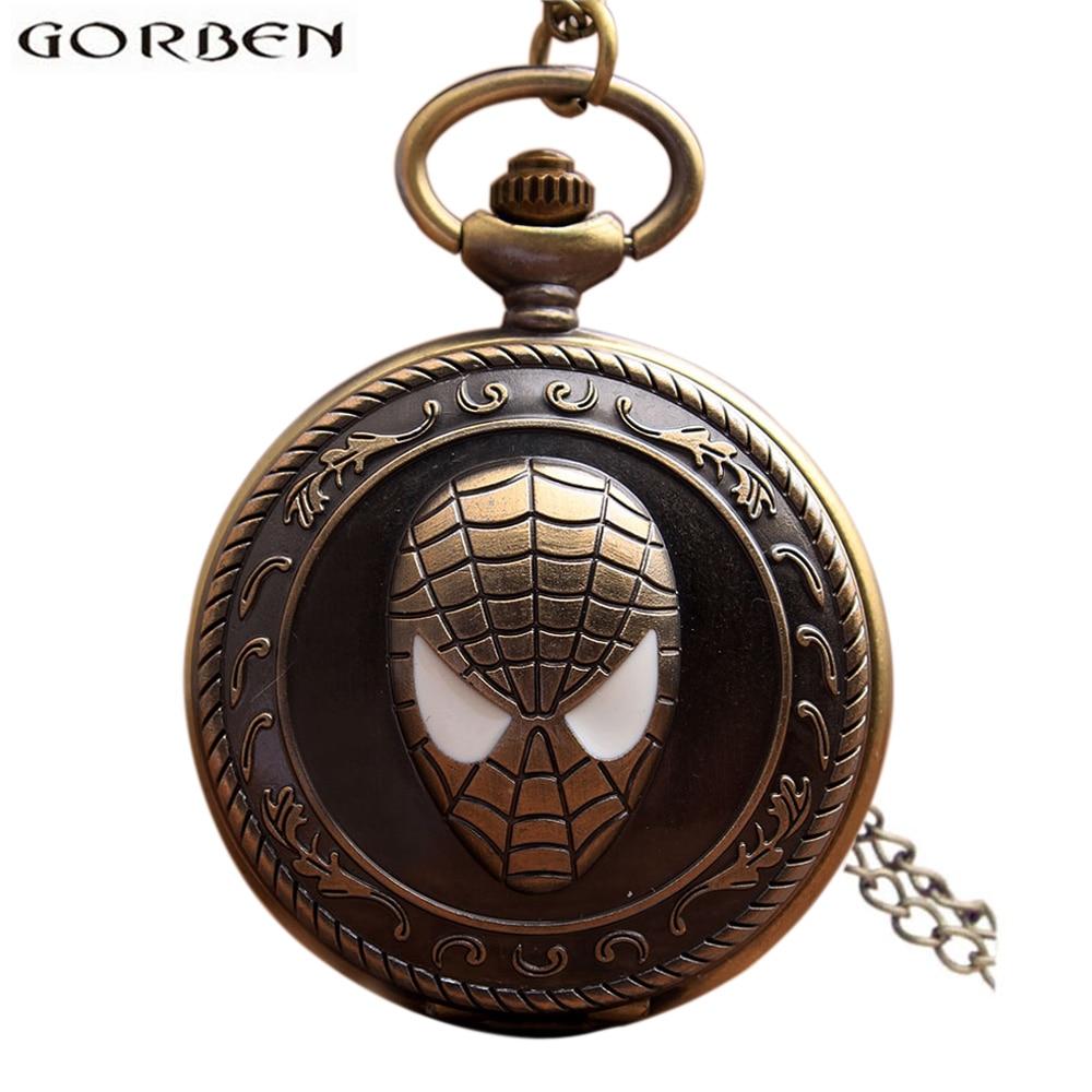 Vintage Spiderman antiguo reloj de bolsillo con cadena de bronce Retro Flip collar de cuarzo Fob reloj colgante para los hombres regalo de las mujeres