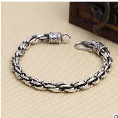 Vintage Personality  Thai Silver Bracelet Bacelet Man Jewelry Men 925 Sterling Chain For Men 7mm