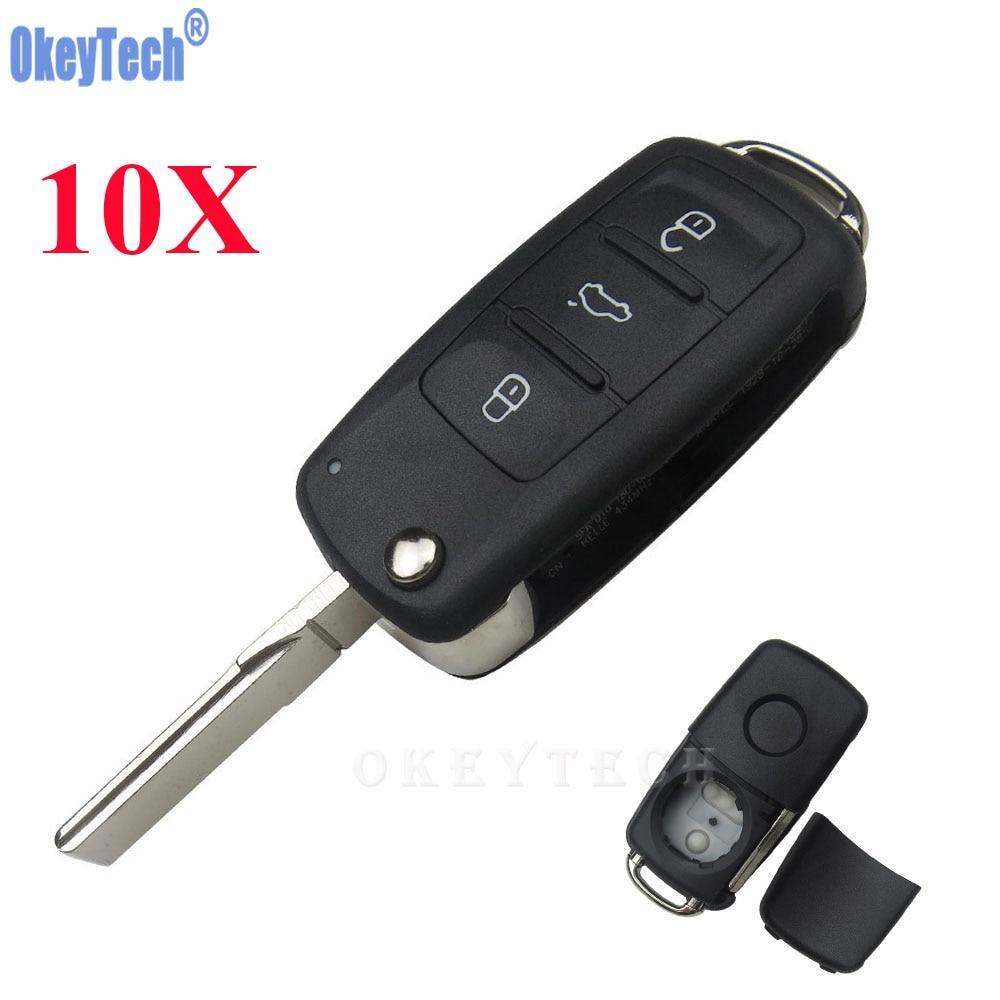 OkeyTech 10PCS/LOT 3 Buttons Key Case Car Remote Flip Key Shell Case Fob For Volkswagen VW Jetta Golf Passat Beetle Polo Bora