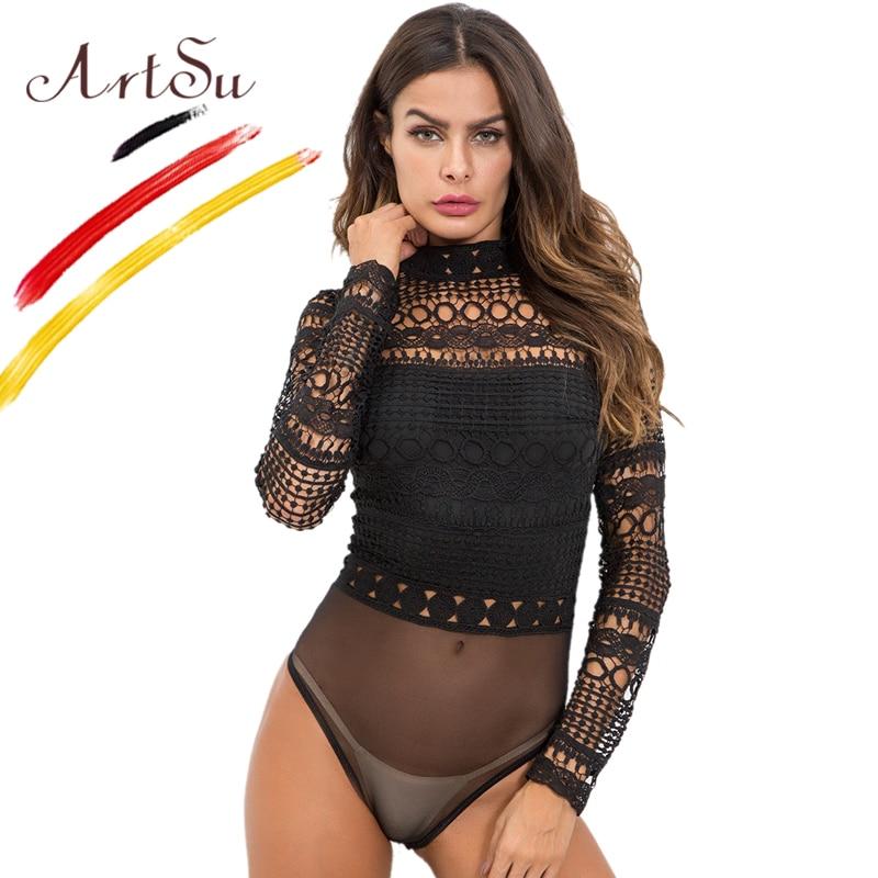 Боди ArtSu женское, черное, белое, кружевное, ажурное, с высоким воротом и длинным рукавом