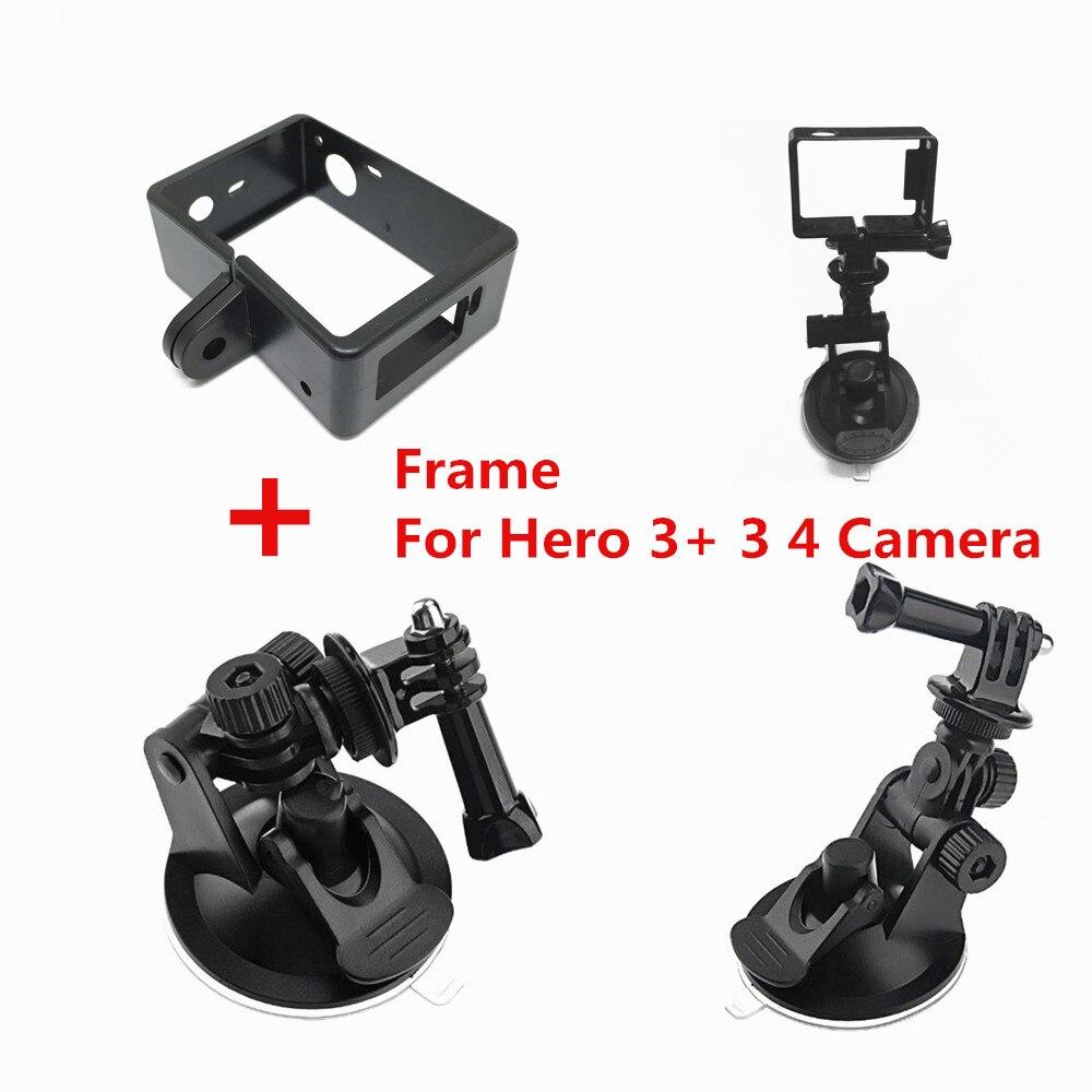 Acessórios Do Carro Ventosa Adaptador de Montagem Vidro Da Janela + Padrão Quadro de Protecção Para Gopro Hero3 3 + Herói 4 Câmera montar