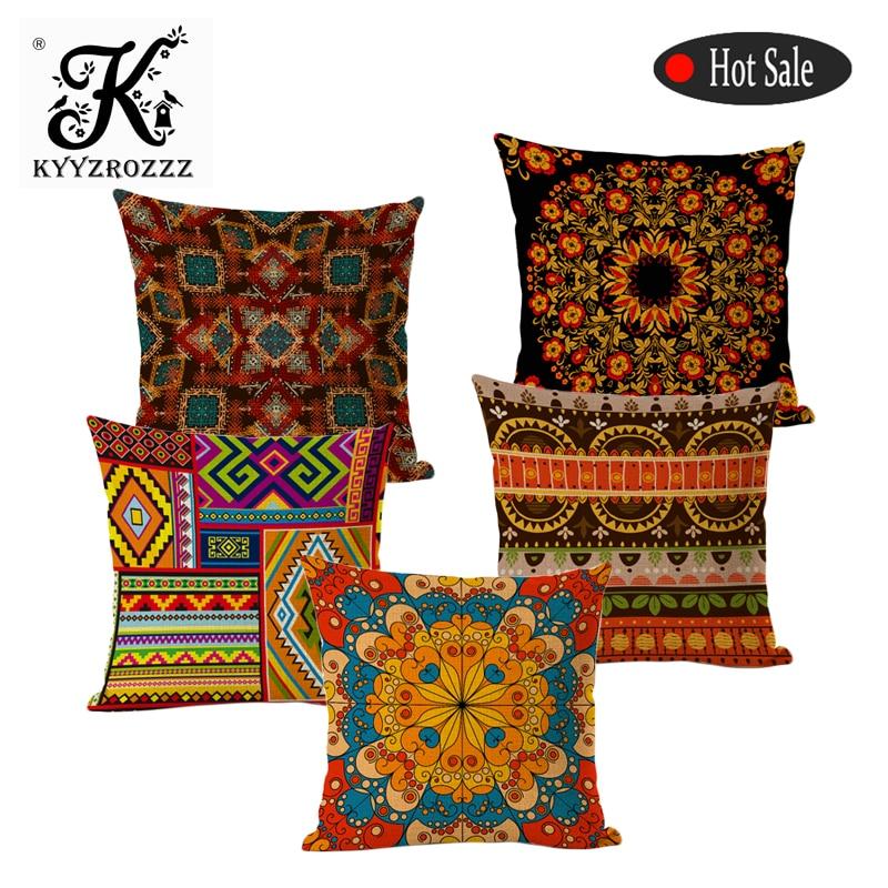 Estilo boêmio decorativo coxim cobre algodão linho quadrado geometria listra africana para sofá assento macio fronha