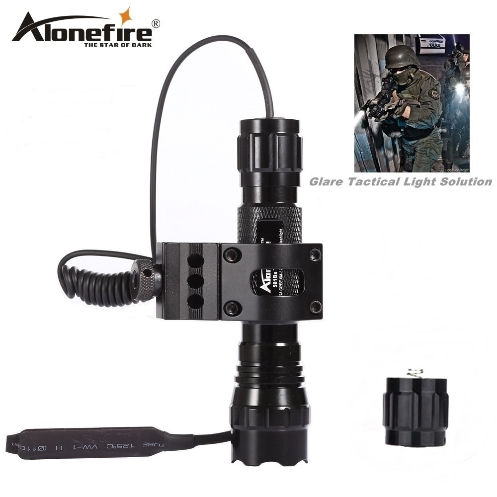 Alonefire 501B linterna táctica CREE XML T6 LED Airsoft armas ligero caza linterna para rifle tiro pistola lámpara interruptor remoto 18650