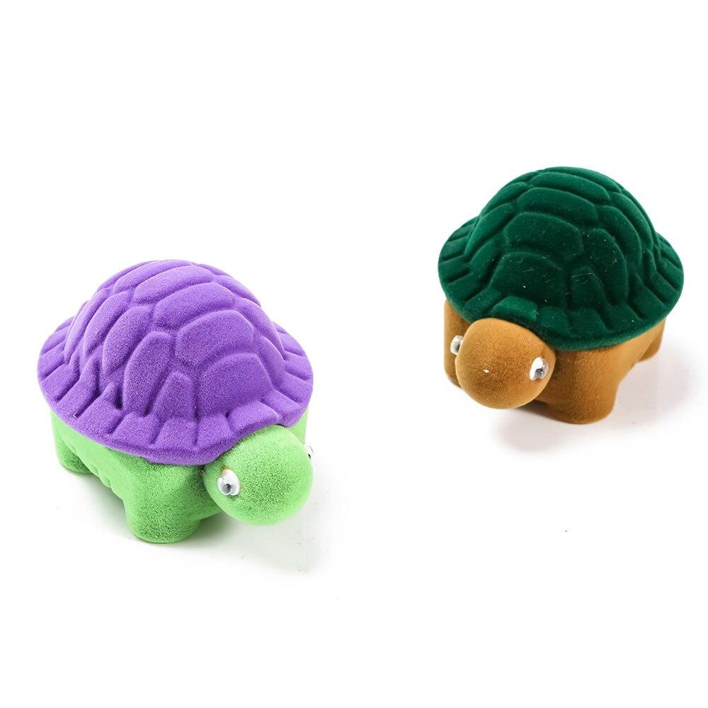 Caja de anillo con diseño de tortuga bonita, caja de anillo de terciopelo, embalaje de joyería, caja de almacenamiento de joyería con Animal bonito y creativo