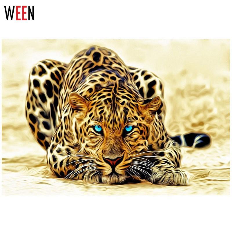 Pintura moderna por números pintura de leopardo hogar pared arte lienzo decoración Animal pintura abstracta Cuadros Decoracion