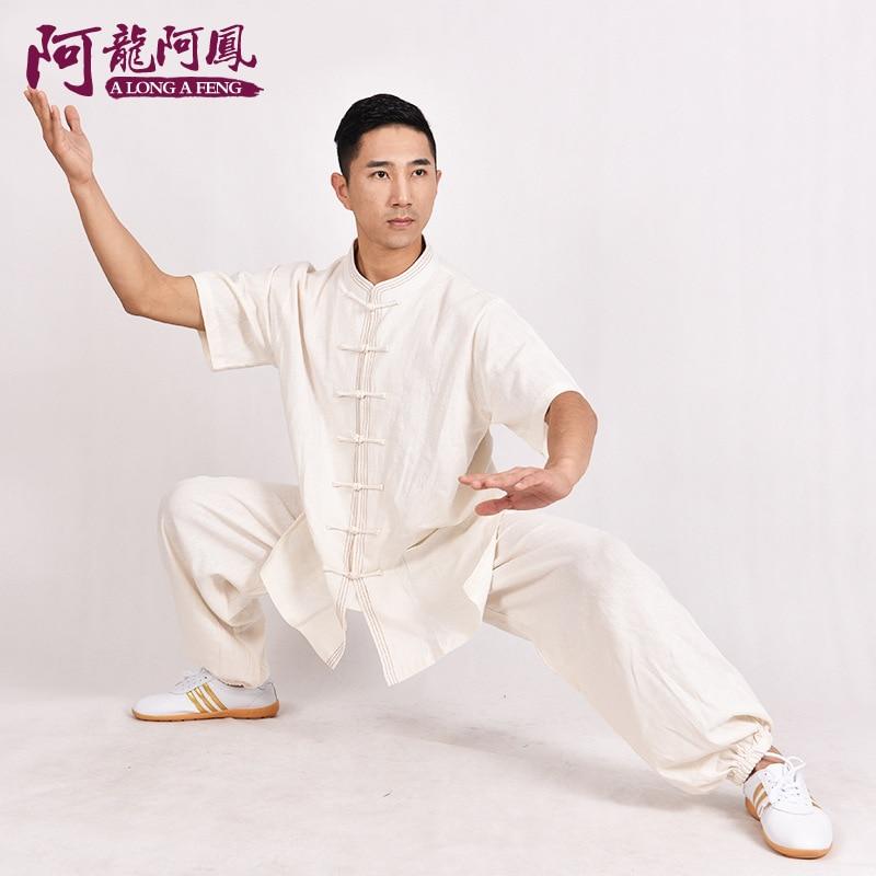 Лето хлопка с коротким рукавом мужчины в пожилых тай-чи одежда половина рукава Тайцзицюань упражнения износ упражнения боевых искусств мероприятия