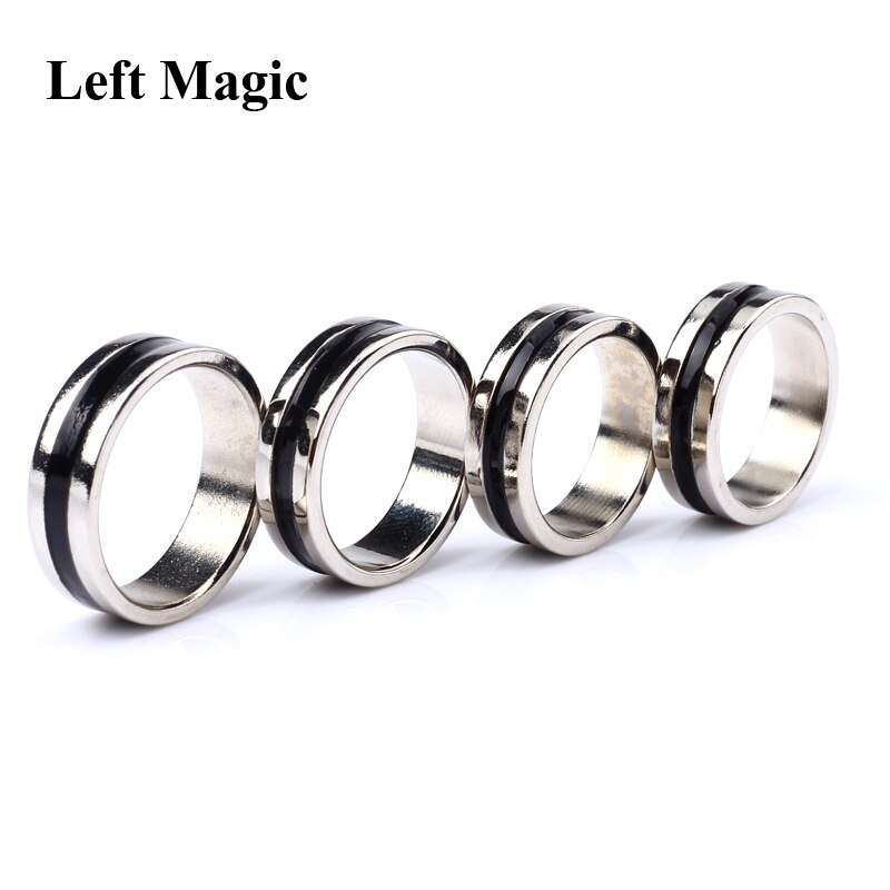 Anel mágico círculo preto pk truques forte, ímã magnético anel de moeda dedo decoração 18/19/20/21 ferramentas mágicas de adereços de anel, tamanho de mm
