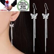 OMHXZJ Wholesale Jewelry lovely Fashion joker for Woman Gift Fine Butterfly 925 Sterling Silver Long Tassel drop Earrings YS219
