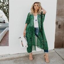 Long Kimono Blouse For Women Summer Short Sleeve Tunic Transparent Green Print Blouse Casual Shirt Tops Boho Clothing Summer