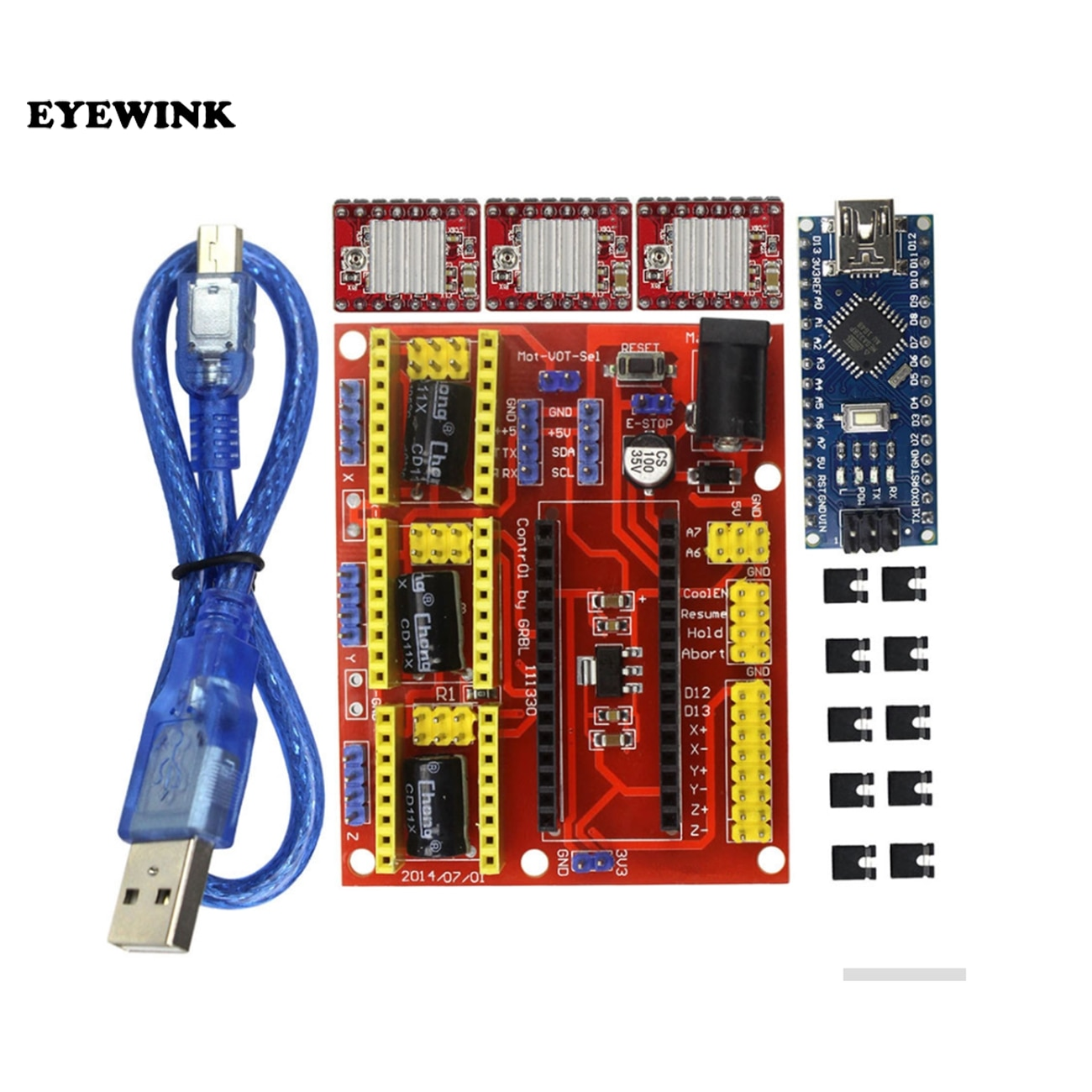 3D V4 CNC escudo V4 máquina de grabado + Nano con USB 3,0 + A4988 Reprap paso a paso los conductores para arduino Diy Kit