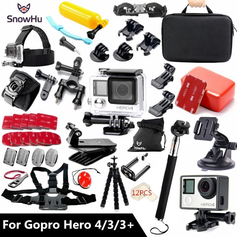 SnowHu para accesorios Gopro conjunto Gopro hero 4 3 3 + protector impermeable caso pecho montaje Monopod para ir pro hero 4 3 3 + GS60