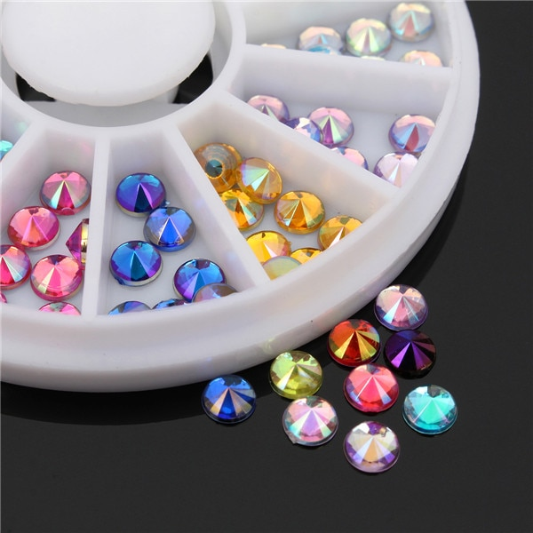 120 Uds en 12 colores 1 rueda parte inferior afilada 4mm redondo colorido AB pegatina 3D Nail Art acrílico cristal manicura Rhinestone