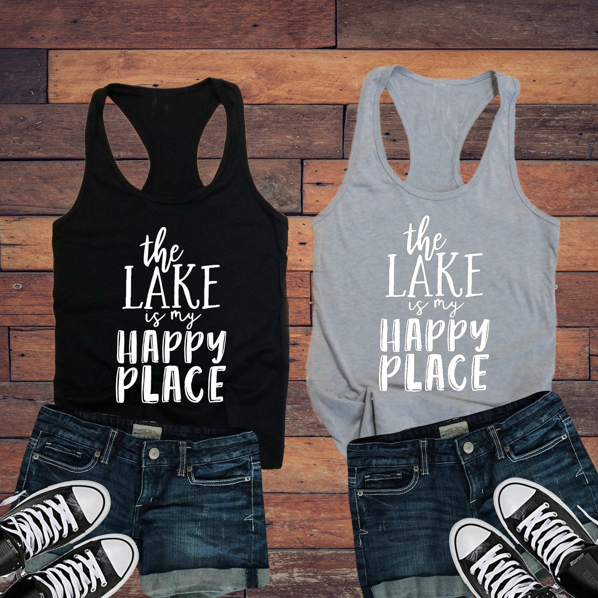 Divertida aventura lema Grunge Tumblr chaleco camiseta Goth camiseta sin mangas Ropa El lago es mi lugar feliz señoras camiseta sin mangas