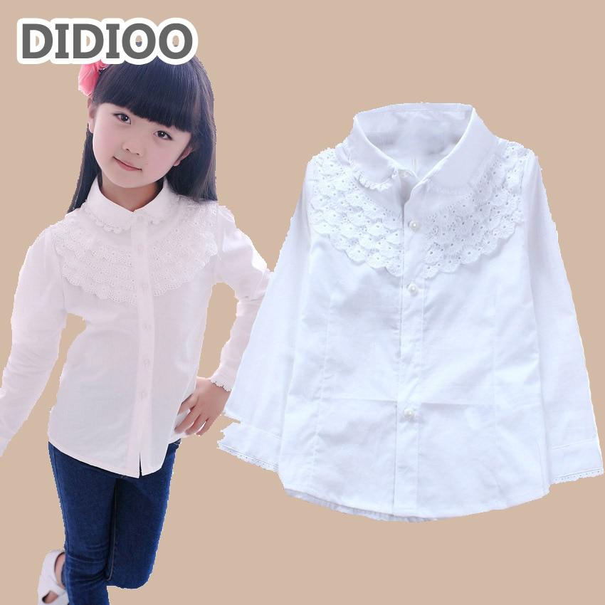 Uniforme Escolar, blusa blanca para niños, blusas para niñas, camisas de algodón de manga larga para niñas, camisas de encaje, ropa grande para niños
