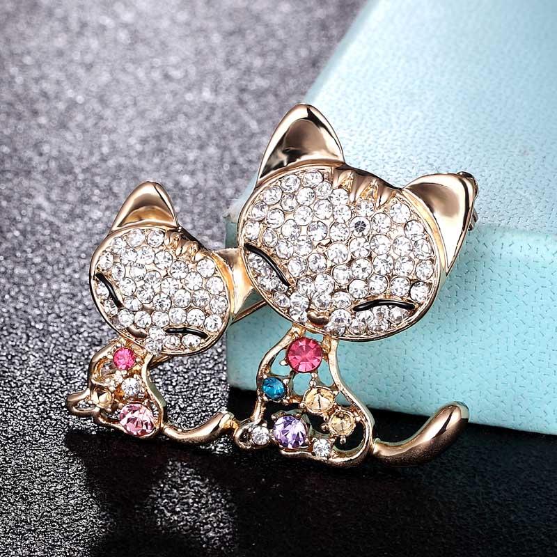 Broche de dos gatos Zlxgirl con forma de animal para mujer, accesorio moderno para niños, ropa de bebé, broches de bufanda, bolsos y joyería de sombreros