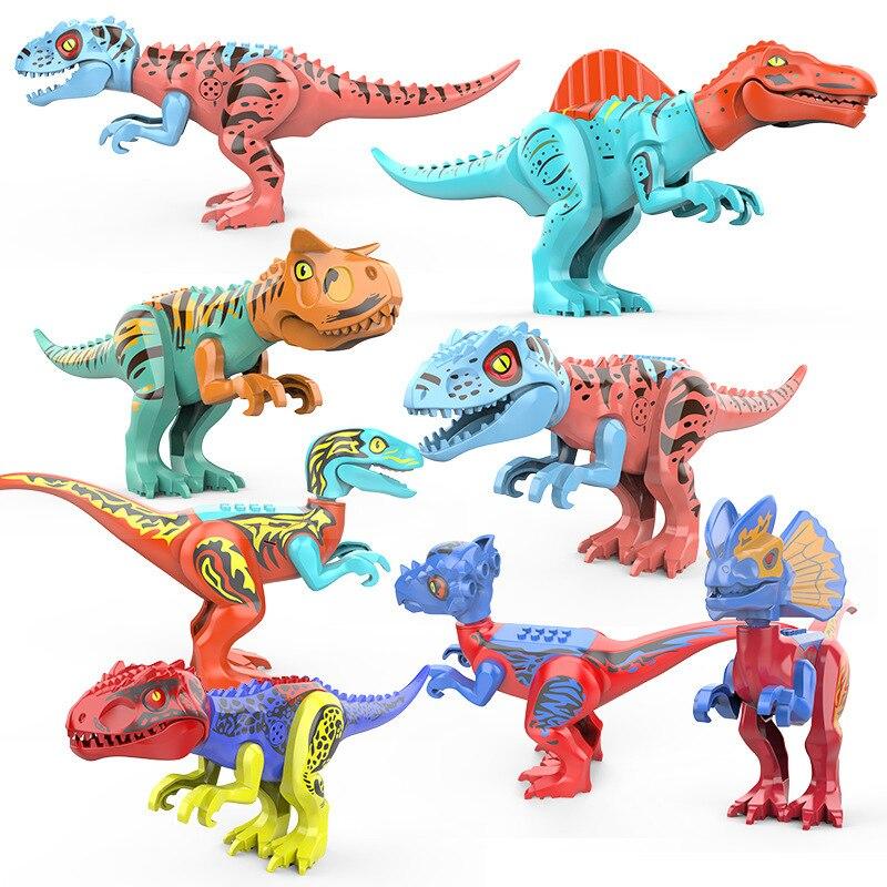 8pcs Brutal Raptor Dino Triceratops Tyrannosaurus Rex Building Blocks Brinquedos Para Crianças Legoings Mundos Jurassic Dinossauros Presente