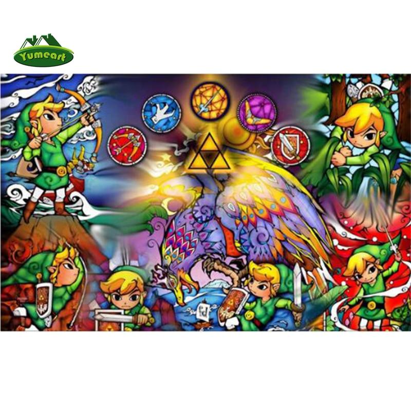 YUMEART DIY pintura de diamante de punto de cruz leyenda de Zelda 25th decoración del hogar 100% cuadro completo de diamantes bordados imágenes de mosaico