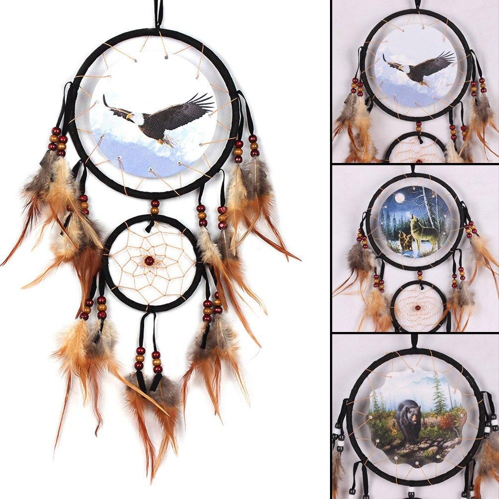 Adler Bär Wolf Design Handmade Dream Catcher Mit Federn Tier Muster Auto Wand Hängen Dekorationen Ornament DreamCatcher