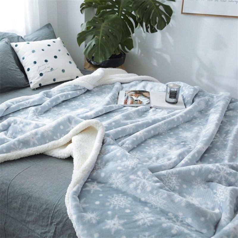 Nieve flor coral polar minky flanel azul acogedor suave manta de bebé invierno Niño niño ropa de cama edredón manta para lanzar sofá para sofá
