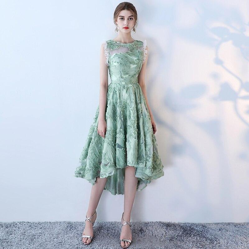 Dubaj Prom sukienka świeże zielone koronki bez rękawów High-Low wieczór sukienka na imprezę O Neck szata De wieczór arabii saudyjskiej korowód suknie wieczorowe 2019