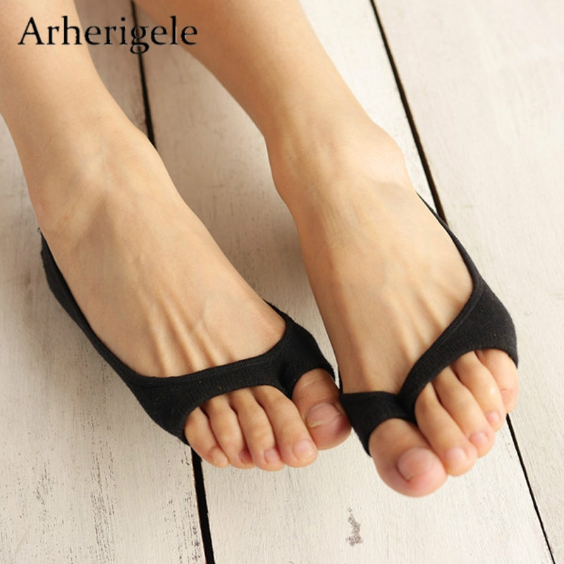 Arherigele 1pair Women's Short Socks Summer Cotton Ultra-thin Open Toe Socks Slippers Low Cut Invisible No Show Socks Non-slip
