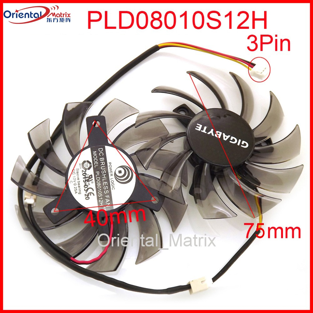 free shipping t128010sm 75mm dc12v 0 20a 40 40 40mm for gigabyte graphics card cooler cooling fan T128010SM PLD08010S12H 75mm Fan For GIGABYTE Graphics Card Cooler Cooling Fan