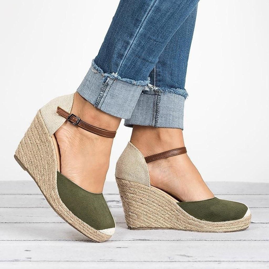 Sandalias de cuña de verano para Mujer 2019 sandalias de plataforma de tacón alto para Mujer Sandalias informales al aire libre zapatos de Mujer Roma