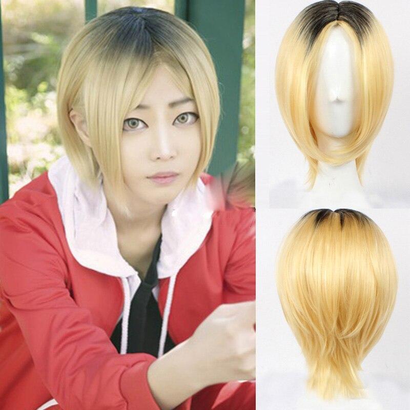 אנימה Haikyuu!! Kenma Kozume פאת קוספליי קצר צהוב תלבושות לשחק פאות ליל כל הקדושים תלבושות שיער + כובע פאה