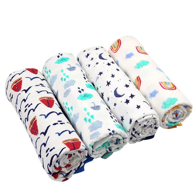 Manta de bebé de 2 capas para recién nacidos, manta de muselina de algodón de fibra de bambú para cama de bebé infantil, Alfombra de juego para niños, Toalla de baño