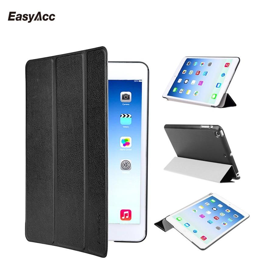 Funda Easyacc para iPad mini 1 2 3, funda inteligente tri-fold Color Ultra delgada de cuero PU parte posterior transparente funda para iPad mini 1 2 3