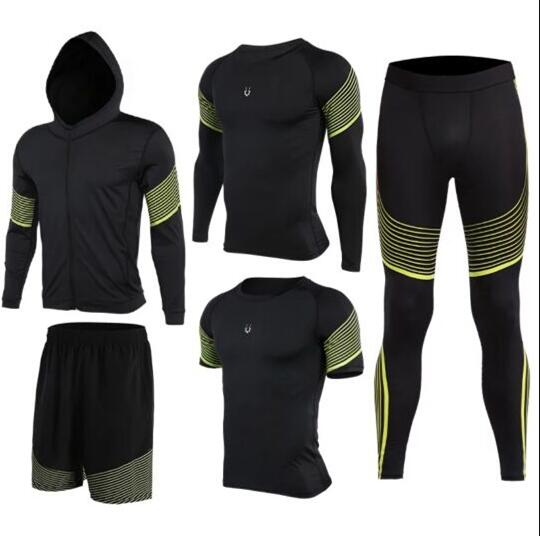 2018 Sports Suit Men's Quick Dry Running Set Compression Fitness Tights Basketball Training Gym Jogging Suit Sportswear 5pcs/set